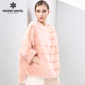 2017 autumn and winter new Fashion Slim mink coat women fur coats Short mink fur coat O-Neck fur WINTER PALACE