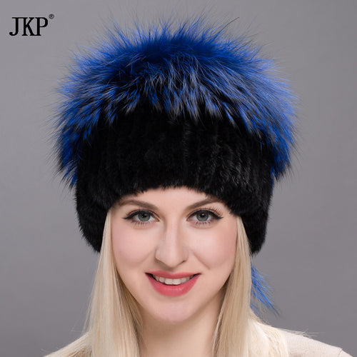 2017 autumn and winter women fur hat winter real mink fur big silver fox fur pom poms hat new hot stretch cap  DXJ17-21