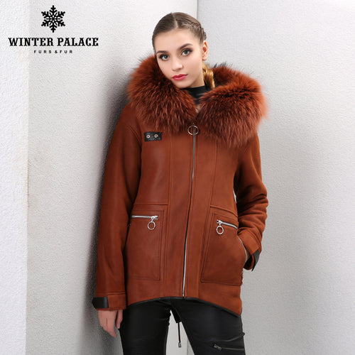 Sheep Shearling Coat. 2017 classic woman Shearling coat Hoode Sheepskin coat Fashion Fur coat Orange Colour Winter fur coat Fox fur Cap collar