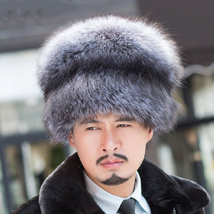 Man Hat.2017 fashion Russian Mongolian 100% real natural silver fox fox hat with lady fox tail tail winter soft hat hairy