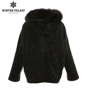 Sheep Shearling Coat.2017 fashion Wool coat Knitted Merino Sheep Fur wool coat women Great value for money Solid winter fur coat WINTER PALACE
