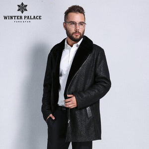 Sheep Shearling Coat. 2017 fashion fur overcoat men Winter warmth sheepskin coats men Short section zipper men fur coat