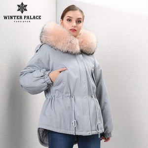 2017 woman army blue Fox fur collar hooded coat parkas outwear 2 in 1 detachable lining winter jacket brand style