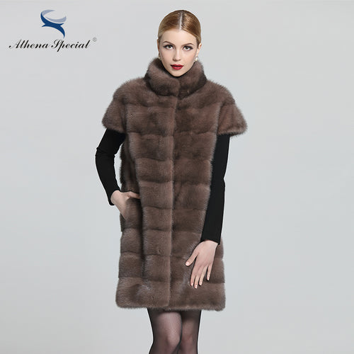 Fur Vest.Athena Special 2016 Ladies Fashion Mink Genuine Vest Long Mink Vest Women Real Mink Fur Vest Coat From Natural Fur Free Shipping