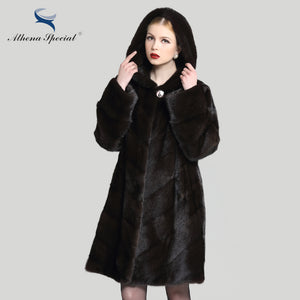 Athena Special 2016 New real mink coat for woman, hooded fur jacket parka outwear, natural fur coat women genuine fur