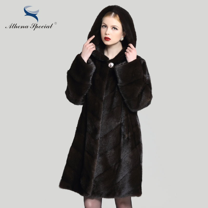 17b586de3 ... Athena Special 2016 New real mink coat for woman, hooded fur jacket  parka outwear, ...