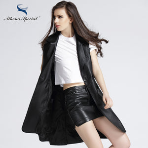 Athena Special 2017 New Designer Faux Leather Jacket For Women Black Color Women Casual Trench PU Leather Coats Vest Plus Size