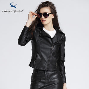 Athena Special 2017 New Designer Leather Jacket Women PU Leather Short Streetwear Motorcycle Jackets And Coats Slim Style