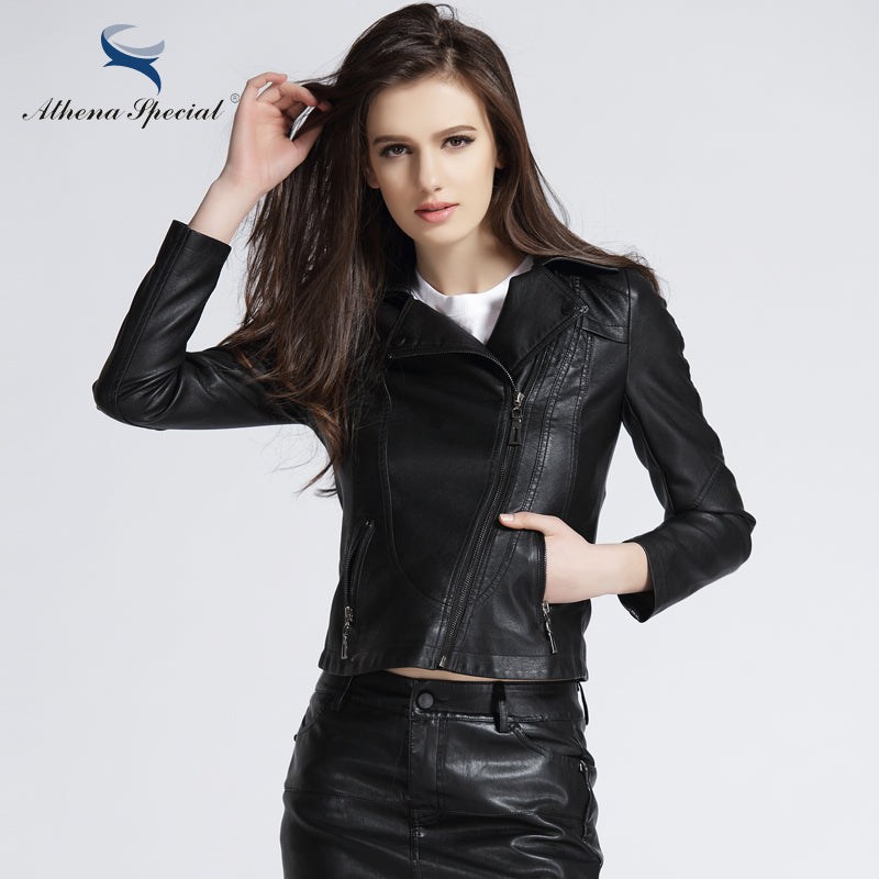 db4b3c660 Athena Special 2017 New Designer Leather Jacket Women PU Leather Short  Streetwear Motorcycle Jackets And Coats Slim Style