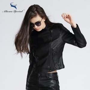 Athena Special 2017 New Fashion Leather Jacket Women Motorcycle PU Leather Outwear Street Style Faux Leather Jackets Plus Size