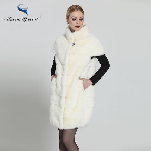 Fur Vest. Athena Special Genuine Mink Fur Vest, Coat Fur Of White 90cm, Stand Collar,Slender Mink Fur Vest Natural, Real Fur,Free Shipping