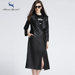 Athena Special New Arrival Women PU Leather Jackets Fashion Trench Coat With Belted Slim Type Motorcycle Outwear High Quality