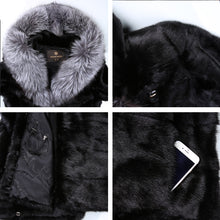 Black fashion big fox fur collar fur coat  popular styles mink fur coat Genuine Leather winter jacket women Fashion Slim Fur