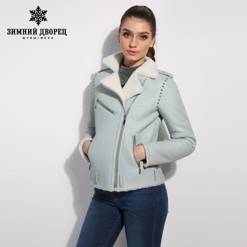 145f60fb73a Black genuine Leather women fur coat Street style women winter jacket Female   Sheep ...