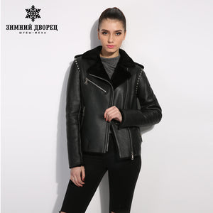 Sheep Shearling Coat. Black genuine Leather women fur coat  Street style women winter jacket Female leather sheepskin coat  Short paragraph lapel