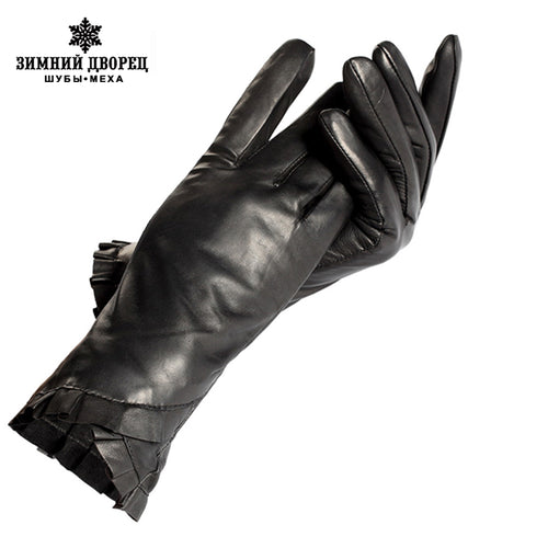 Black leather gloves women,Genuine Leather,Cotton lining,Adult,Winter female leather gloves,Women warm gloves,Free shipping