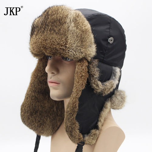 Bomber Trapper Hats Thick Winter Warm Rabbit Fur Hat Rex Snow Caps Ear Flap Caps ushanka Russian  For Men