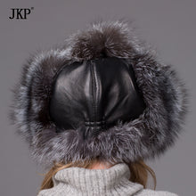 Bomber fur hat for women winter fox/raccoon fur hat with waterproof cloth fashion leather hat female ear protector cap HJL-05