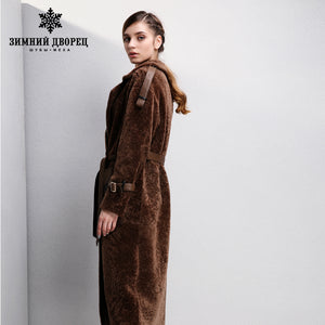 Sheep Shearling Coat. Women sheepskin coats,brown fur coat,suit collar real fur coat,Adjustable cuff,Coat of fur WINTER PALACE