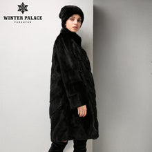 Fashion long leather mink fur coat Medium Slim fur coat Black Genuine Leather fur coats for women Classic style WINTER PALACE