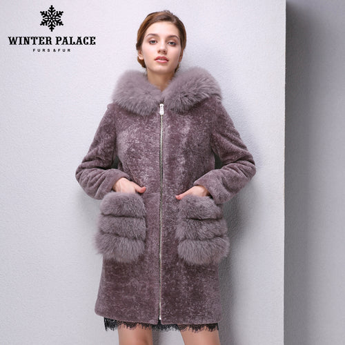Sheep Shearling Coat. Genuine Leather women fur coat Double-faced  Fur women  sheepskin coat  Sheep Shearing Coat Hooded lapel colored fur coat