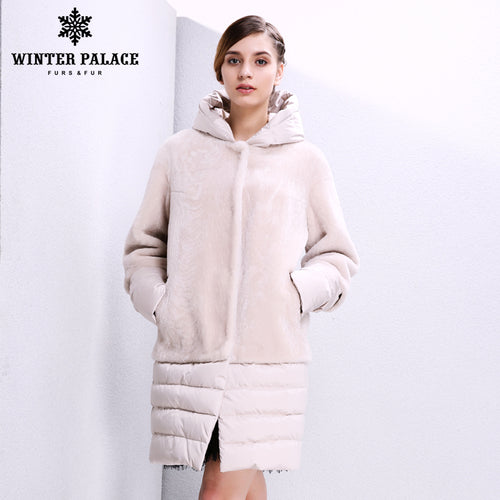 Sheep Shearling Coat. Genuine Leather women fur coat Fashion Slim Fur women winter Sheep Shearing Coat sheepskin coat Women's down coat With hat