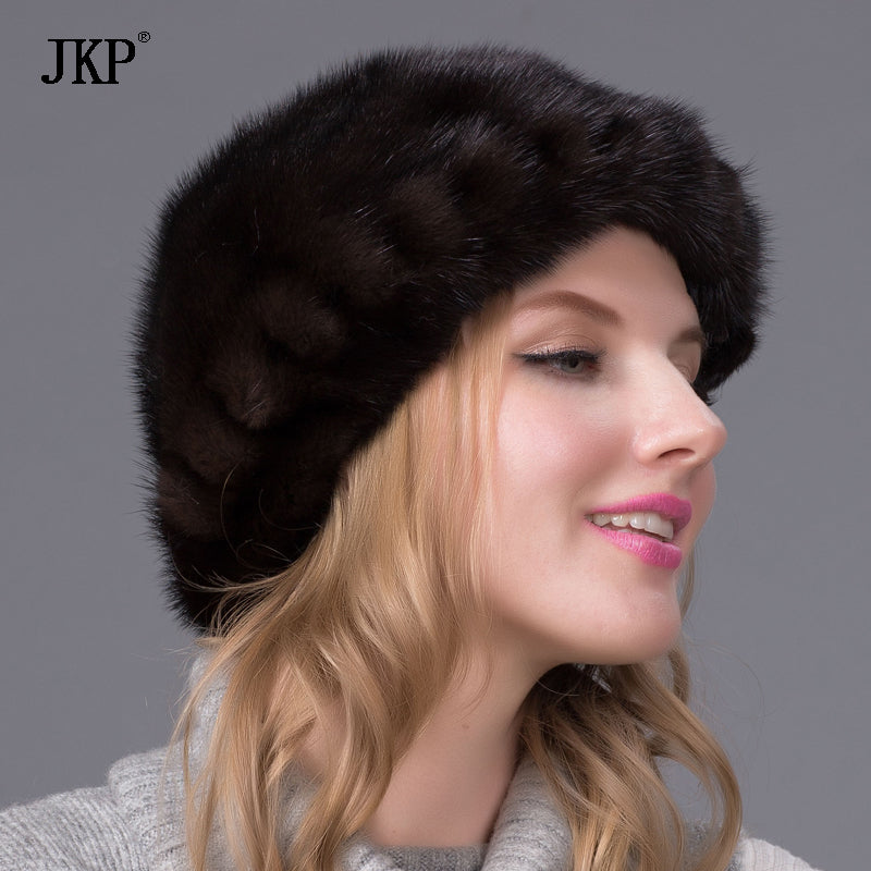 Genuine mink fur hat for women winter imported whole mink fur cap floral  pattern 2017 Russian ... b40f4a06c2c