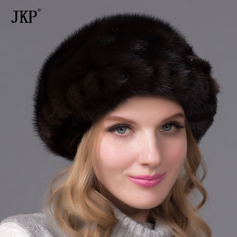 ... Genuine mink fur hat for women winter imported whole mink fur cap  floral pattern 2017 Russian ... 1afeaa41059