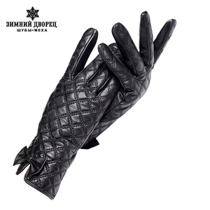 Gloves women,Gloves Central butterfly decoration,Genuine Leather,Black checkered leather gloves,Female gloves,Brand quality