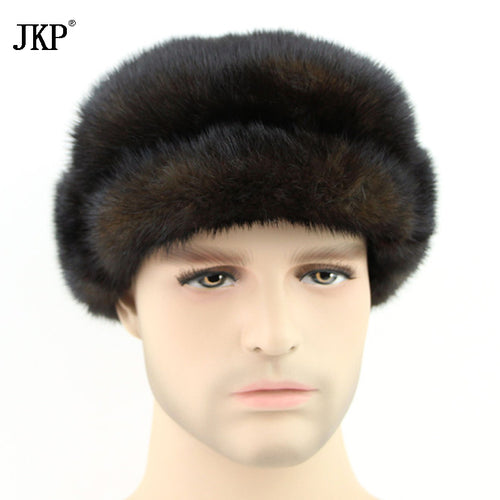 Handmade Men's Russian Wholeskin Visera Man's Winter Hats Real Warmers Fashion Real Fur Mink Hat free shipping   ZD-07
