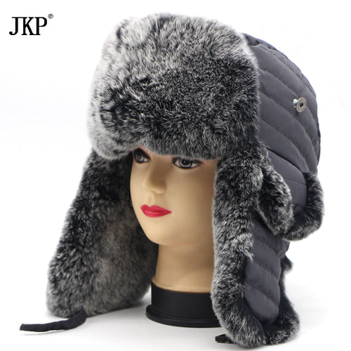 High Quality 2017 Winter Man Fur Bomber Hats With Earmuffs Russian Hot Cap Real Rabbit Fur Hat