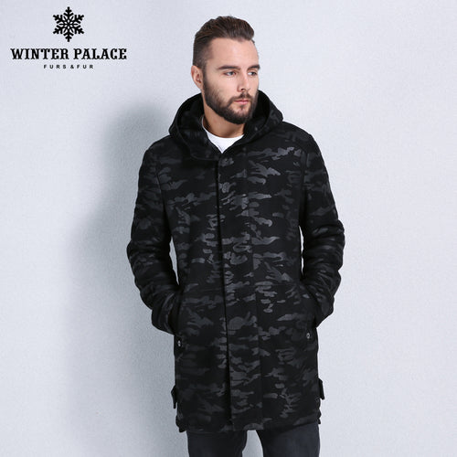 Sheep Shearling Coat.Hooded men's winter fur coat fashion fur overcoat men Winter warmth sheepskin coats men