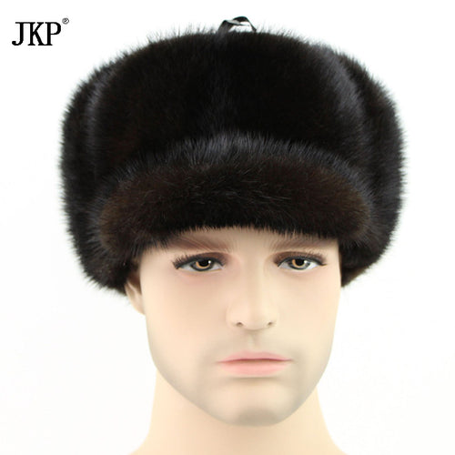 Hot Authentic real mink hat winter russian men hot caps whole piece mink fur hats  ZD-09