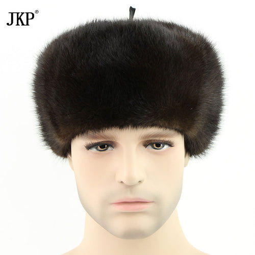Hot Russia Men Mink Fur Set Hat Winter Fur Hat Hot Genunie New Men Authentic Formal Solid Fur Caplets ZD-02 Leather Cap