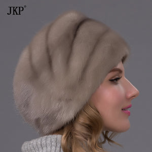 Hot sale Russian winter fur hat for women real mink fur hat with fur cap good quality whole floral mink fur cap  DHY-66