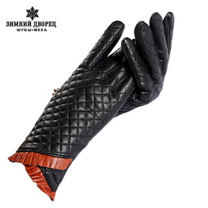 Ladies leather gloves,Cotton lining,Genuine Leather,genuine leather gloves women,winter ladies gloves,women winter gloves 2015