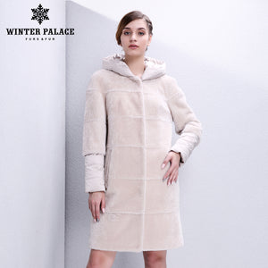 Sheep Shearling Coat. Natural furs women fur coat Fashion Slim  women sheepskin coat long Sheep Shearing Coat beautiful Women's down coat