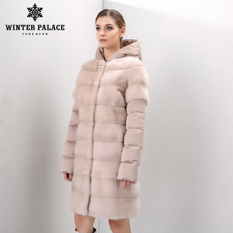 e40fceeaa Natural furs women's fur coats vintage fur vest Warm mink fur coat Down  Jackets mink coat women Sleeves and hats can be removed