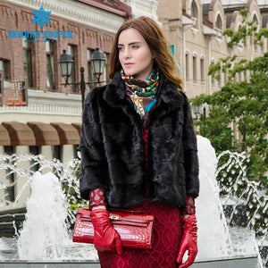 Natural women fur coat Fashion Slim jacket mink fur coat Short-sleeve fur vest  Short genuine fur coat Mandarin Collar