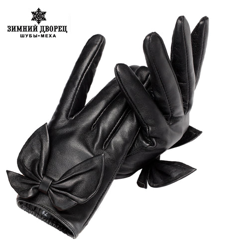 New Fashion Leather gloves ,Genuine Leather,Cotton,Adult,Fall short paragraph gloves,Black bow fashion women's gloves