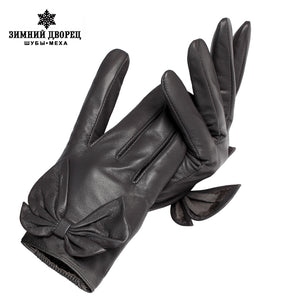 New Fashion Short  leather gloves ,Genuine Leather,Adult,Fall short paragraph gloves,gray bow fashion women's gloves