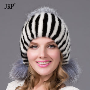 New Hot Real mink fur hat for winter women imported knitted mink cap with fox fur pom pom female beanies DHY-23