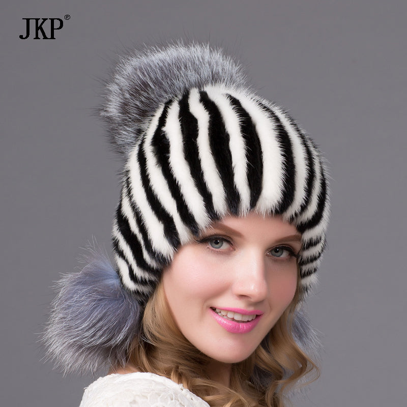 74cf109a180 ... New Hot Real mink fur hat for winter women imported knitted mink cap  with fox fur ...