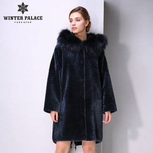 Sheep Shearling Coat. New Winter Products fashion fur mouton fur coat  Classic style coat women Blue fur coat Fox fur Hat Brim WINTER PALACE
