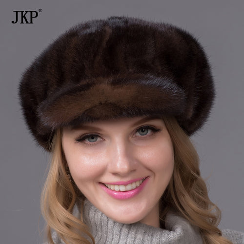 New arrival Cute Mink fur hats Real mink fur hat for winter women Fashion russian fur hat Warm Brown fur hats PDX-01