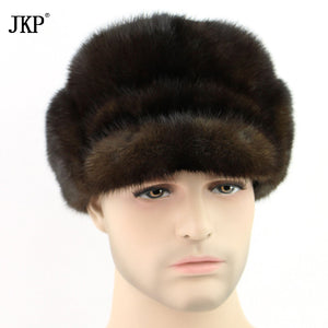 New arrival trapper natural mink fur mink fur genuine knight black and mahogany quality fashion winter hats Christmas  ZD-06