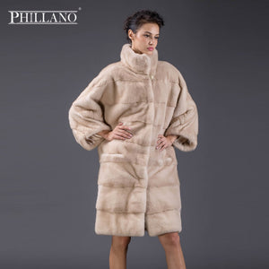 PHILLANO 2017 Bat Style New Premium Women Clothing Thick Warm Fur Mink Scandinavia Denmark NAFA Long Winter Parka YG13093-100