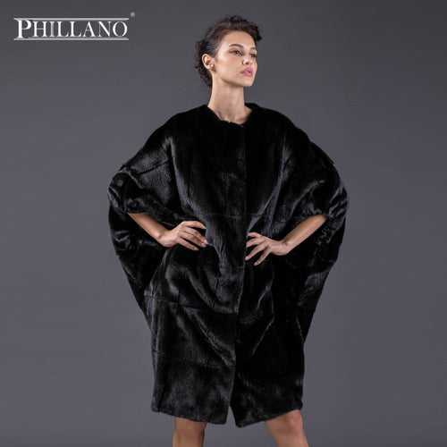 PHILLANO 2017 New Premium Women mink garment natural fur Batwing sleeve fur  coat of mink Scandinavia Denmark NAFA YG13092-100