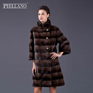PHILLANO New Premium women mink garment natural fur coat mink jacket short coat of mink Scandinavia Denmark NAFA YG12024-95