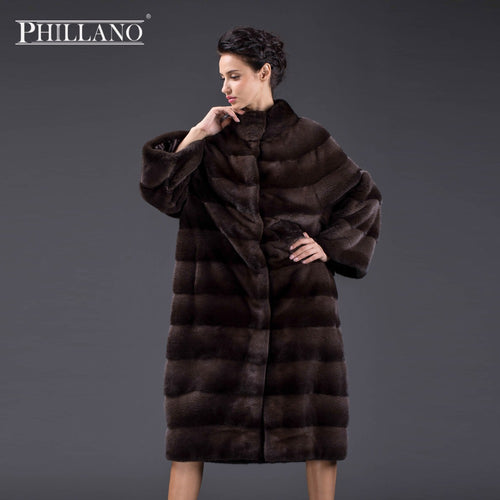 Phillano 2017 Plus Size Winter Coat Women Real Mink Fur Coat Bat style Balloon Mink Parka Scandinavia Denmark NAFA YG14040-110